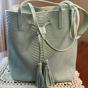 GiGi New York Bucket Bag Drawstring Azure NWOT